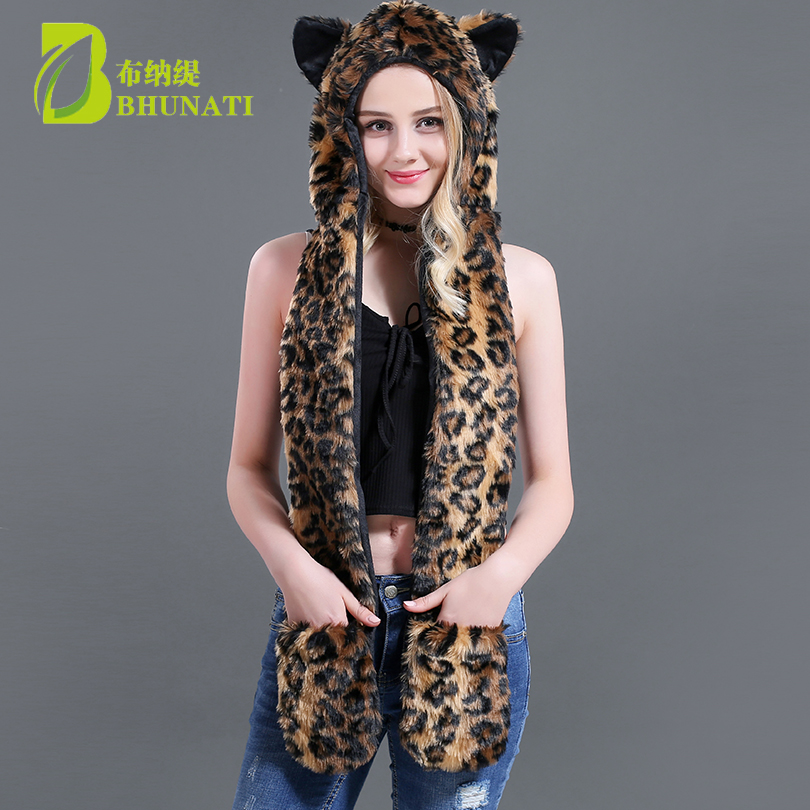 2018 Leopard Luxurious Women Cartoon Cap Belt Scarf Faux Fur Hat Female Winter Animal Fur Cap Bomber Hats Christmas Gift