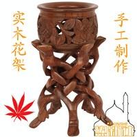 Pakistan wood carving handicraft art 5 Antique Walnut flower head flower pots Home Furnishing wood furnishings