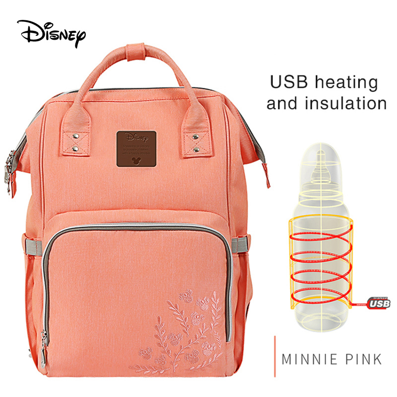 Disney  Diaper Bag Mummy Bag Multi-function Large Capacity Insulation Backpack Portable Fashion Baby  Back Milk Bag USB
