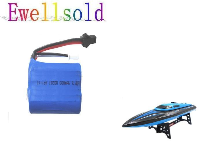 Ewellsold 7.4v 600mAh Li-ion battery for H100 high speed RC boat 2pcs/lot free shipping free customs taxes high quality skyy 48 volt li ion battery pack with charger and bms for 48v 15ah lithium battery pack