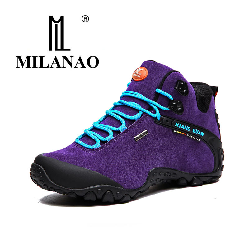 MILANAO 2017 Brand Men comfortable Hiking Shoe Women Waterproof Walking Sneakers Man Outdoor Hunting trail slip resistant merrto men s outdoor cowhide hiking shoe multi fundtion waterproof anti skid walking sneakers wear resistance sport camping shoe