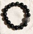 Tibetan Beads Bracelet OM Mani Padme Hum Obidian Beaded Bracelet Man Bracelet