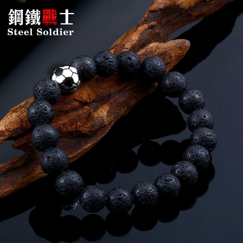 Steel soldier dropship & wholesale 10mm black Lava Stone popular soccer bracelet fashion jewelry womens accessories