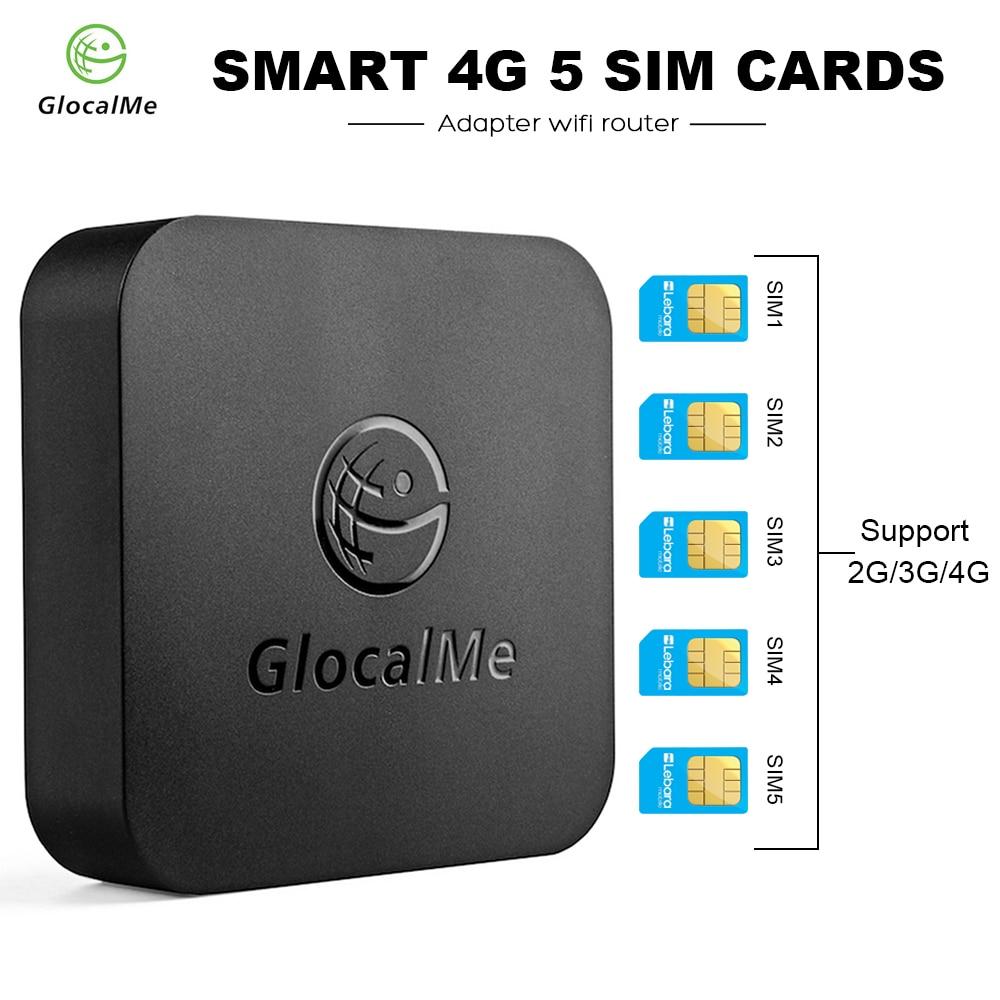 GlocalMe SIMBOX 4G 5 cartes SIM adaptateur routeur WiFi intelligent boîtier multi-cartes SIM pour iOS/Android Support réseau 2G/3G/4G