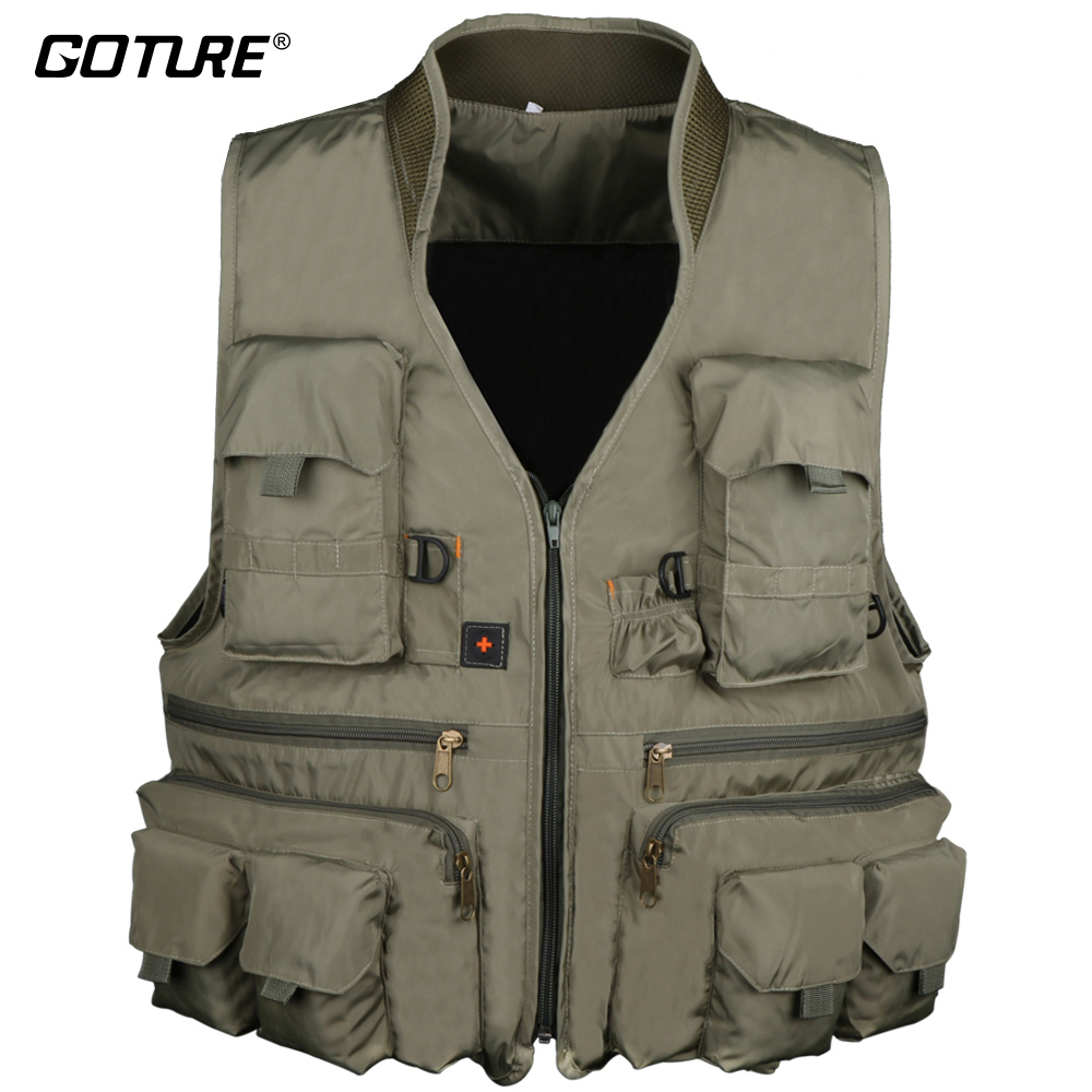 Goture Multifunctional Fishing Vest Jackets Waistcoat With Multi Pocket For Outdoor Fishing Hiking Hunting Size L XL XXL adjustable pro safety equestrian horse riding vest eva padded body protector s m l xl xxl for men kids women camping hiking