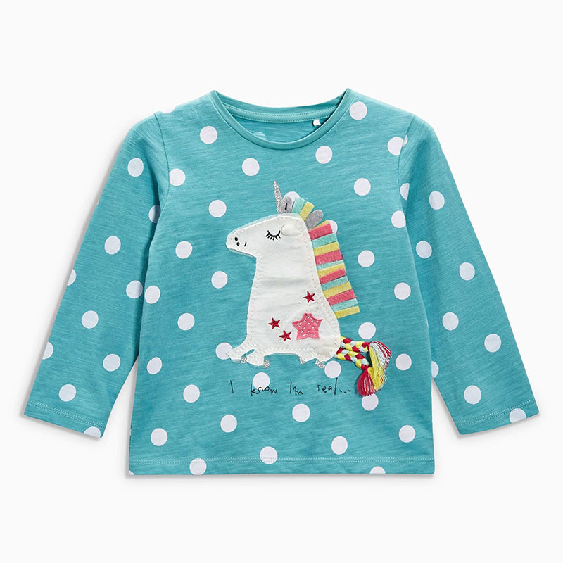 Toomine T-Shirts Children Brand Baby Girl Clothes 2017 Autumn New Girls Cotton Long Sleeve Dot Sky Blue Cloth Unicorn T Shirt