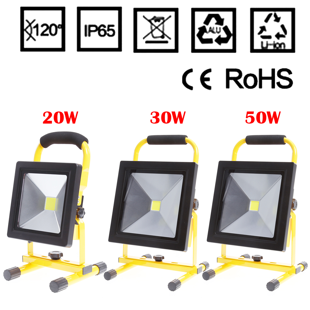 LED Rechargeable Lights Outdoor Portable Flood Light 10w20w30w50w Vehicle Engineering Lighting Emergency Maintenance Light ultrathin led flood light 200w ac85 265v waterproof ip65 floodlight spotlight outdoor lighting free shipping