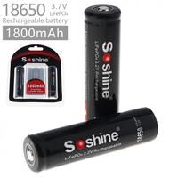 Soshine 2pcs 1800mAh LiFePO4 3 2V 18650 Rechargeable Battery With Protected PCB Portable Battery Box