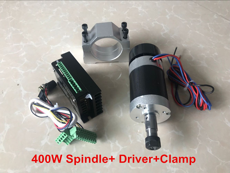 2018 New CNC Spindle Brushless 400W ER11 Collet Spindle Motor + Motor Driver + 55MM Clamp 500w er11 3 175mm collet 55mm diameter 12000rpm bldc spindle motor