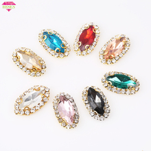 RESEN 7X15mm 20pcs Mix Color Horse Eye Sew on Crystal Rhinestone Button Gold Base Glass Sewing DIY AccessoriesDecoration