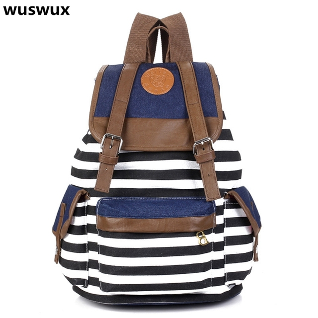 Women backpack New fashion stripe casual canvas backpack school bags preppy style female school backpacks good quality 5