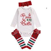 0-18M Newborn Baby Christmas Costume Long Sleeve Cotton Bodysuit Santa is my Bestie Xmas Headband Leg Warmer 3pcs Outfit Set