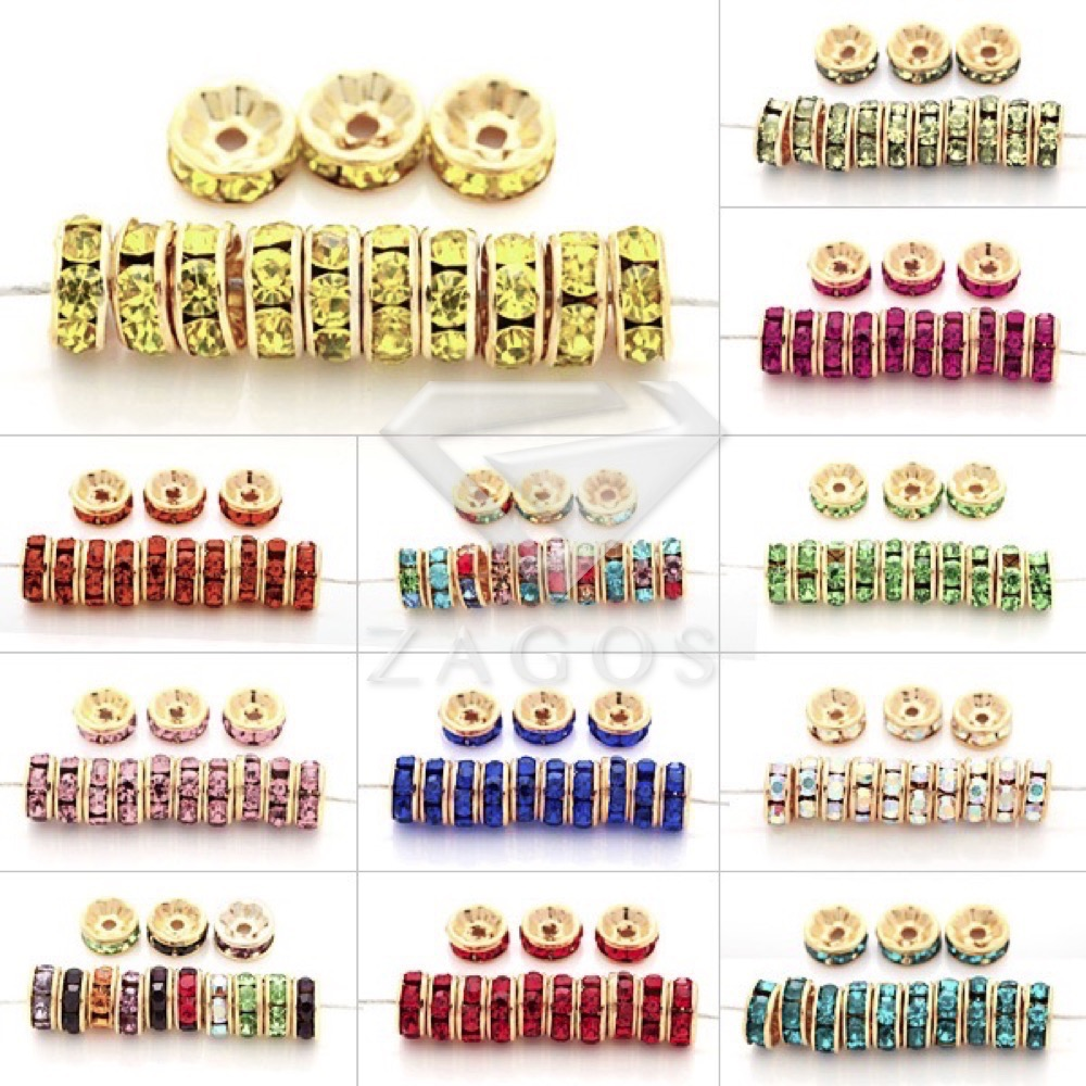 100pcs Crystal Rhinestone Rondelle Beads 5x5mm Straight Spacer Golden Plated Jewellery