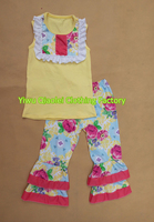 Wholesale Sleeveless Top And Flower Design Ruffle Pants Hot Sale Summer Baby Outfits