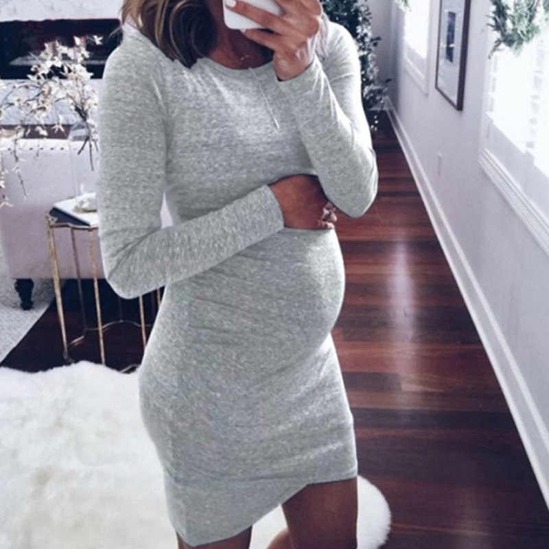 O-Neck Long Sleeve Maternity Dress Autumn Winter Pregnancy Clothes For Pregnant Women Solid Color Sexy Mummy Clothing 2019