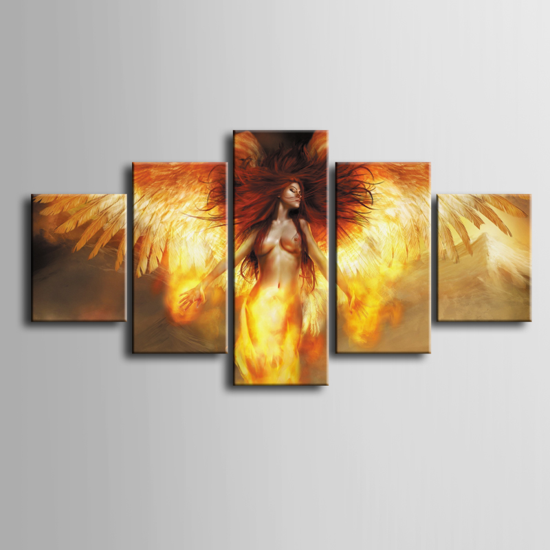 Wholesale 5 pieces / set of Abstract woman movie poster series wall art for decorating home Decorative painting on canvas