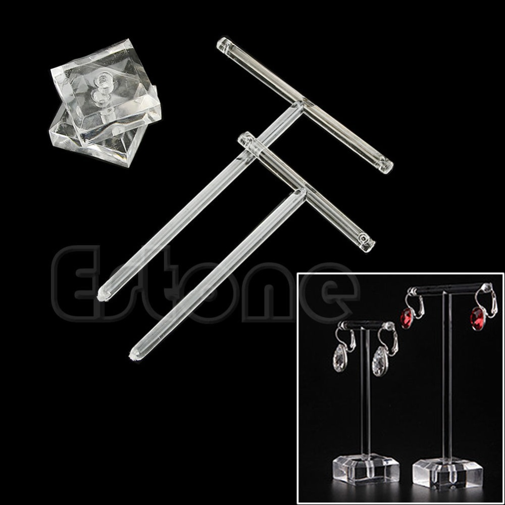 A40 Earrings Jewelry Display T Bar Stand Holder Rack Organic Glass 2Pcs