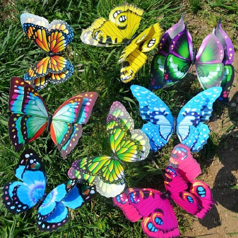 12CM Colorful Fairy Butterfly On Stick Ornament Home Garden Vase Lawn Art Craft Decor