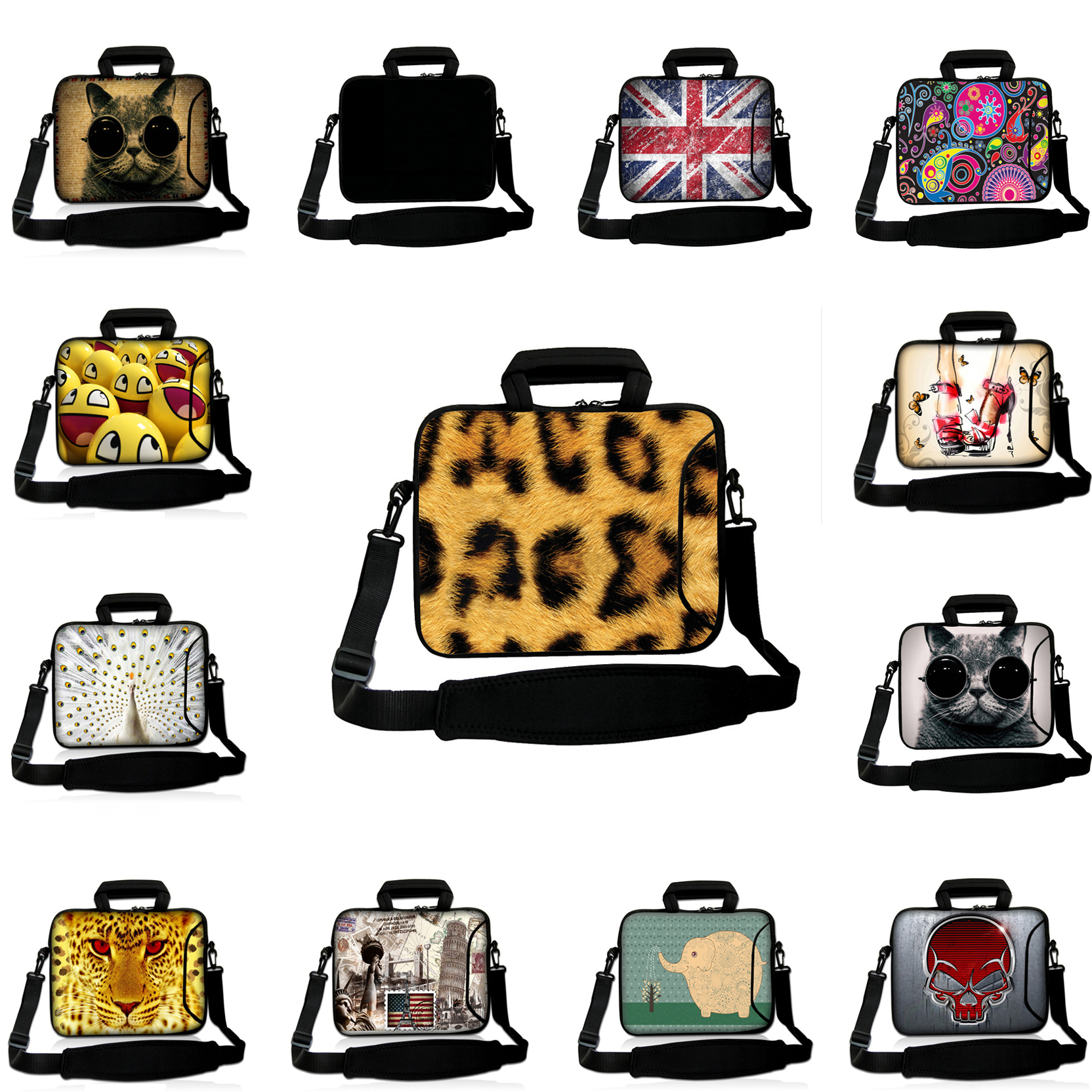 Print Universal 13 12 10 14 15 17 Inch Funda Portatil 15.6 Notebook Messenger Bags Laptop Shoulder Handle Bags Cover Cases Women