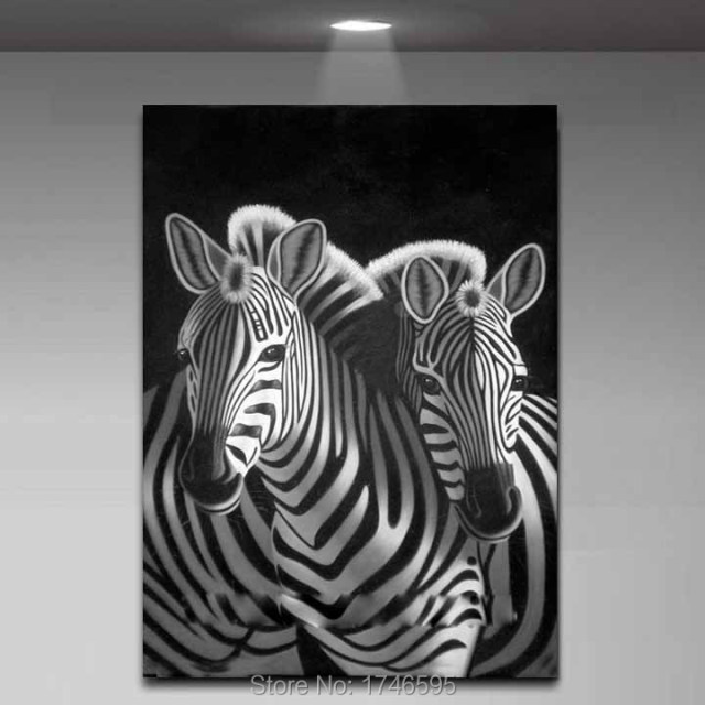 Modern living room decor home decorative abstract wall art picture printed black white zebra oil painting