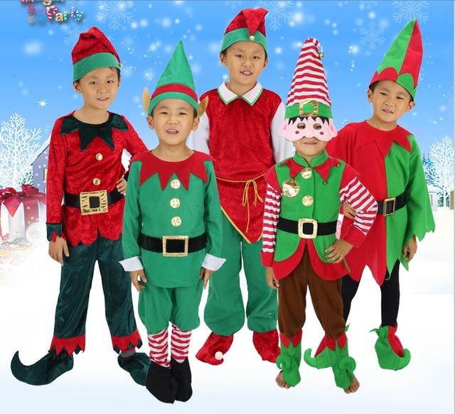 Weihnachten Kinder.Us 13 96 5 Off 80 160 Cm Kinder Cosplay Kostüme Halloween Weihnachten Weihnachtsmann Elf Anzug Kinder Uniformen Für Schule Drama Peter Pan