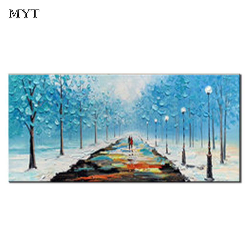 Hand Painted Modern Abstract Winter Love Song Art Home Decor Hang Picture pink tree Handmade wall art Oil Painting On Canvas image