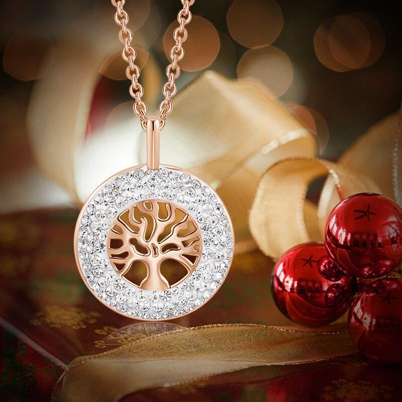 CDE женское золотое ожерелье с подвеской, украшенное кристаллами Swarovski, розовое золото 18 К, дерево жизни, ювелирное изделие, рождественский подарок