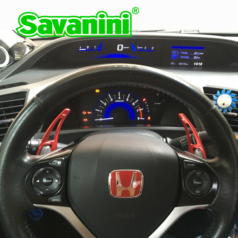 Savanini Aluminum Steering Wheel Shift Paddle Shifter Extension for Honda Civic Gen 9 (2012 year) CRV(2016) Auto Car styling savanini 2pcs aluminum steering wheel shift paddle shifter gear extension for ford mustang 2015 up auto car styling sticker free