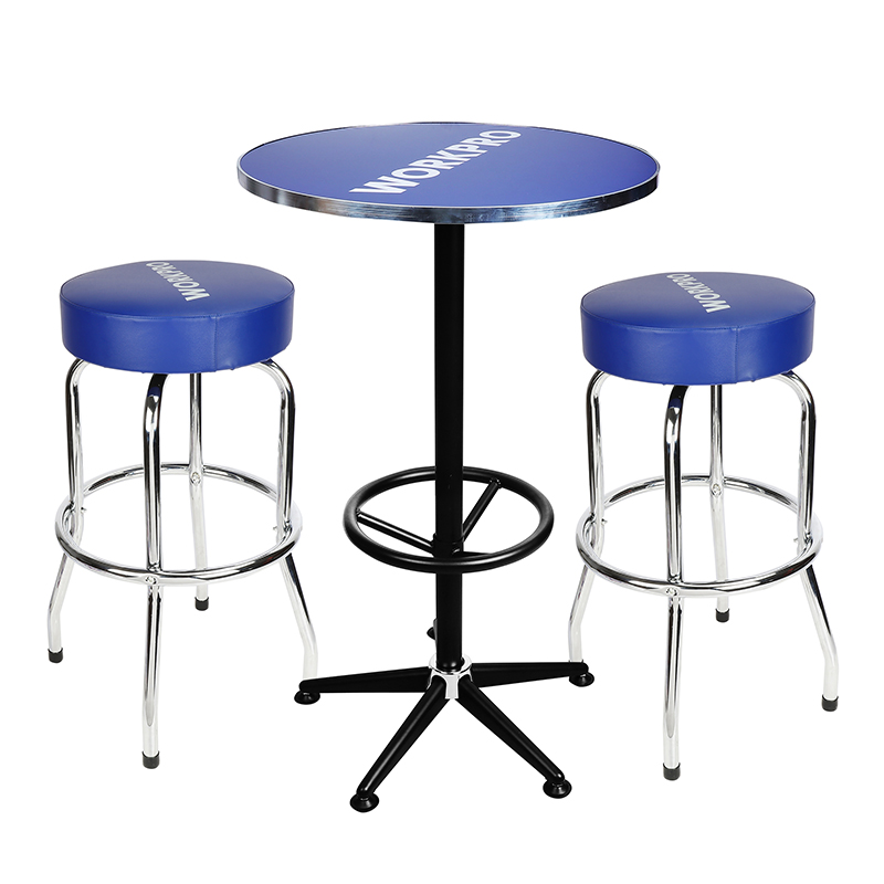 WORKPRO 3PC Bar Stools and Table Set High Quality Home Garage Steel