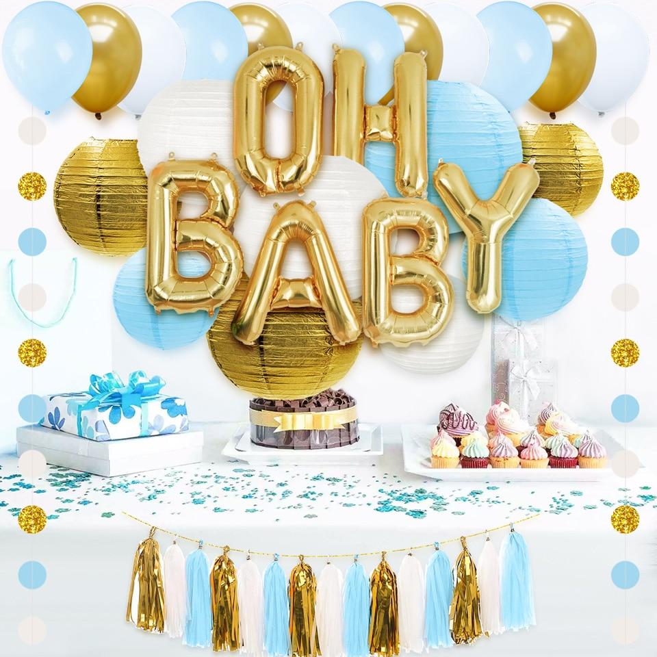 NICROLANDEE 43 pièces Mélange Couleur Ballons À Air Papier Lanterne Gland Confettis Bébé Douche Garçon Fête D'anniversaire Décor Enfants Retour À L'école