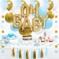 NICROLANDEE 43Pcs Mix Color Air Balloons Paper Lantern Tassel Confetti Baby Shower Boy Birthday Party Decor Kids Back To School