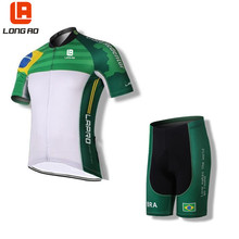 Фотография 2016 New country Team Sport Bike Ciclismo Set Jersey Cycling Clothing Short LONGAO Bike Shirt Wear Brazil Cristo cycling jersey