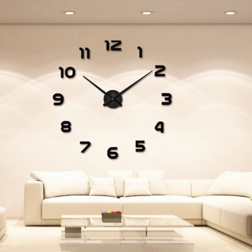 New Wall Clock DIY Acrylic Mirror Clock Wall Stickers Silent Movement Big Wall Watch Long Pointer Home Decor Living Room in Wall Clocks from Home Garden