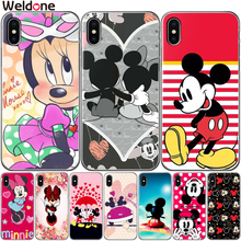 Cute Minnie Mickey Case Cover For iPhone XS Max XR X 7 6 6s 8 Plus 5 5S SE mickey minnie mouse Phone Cases Covers Etui Coque цена