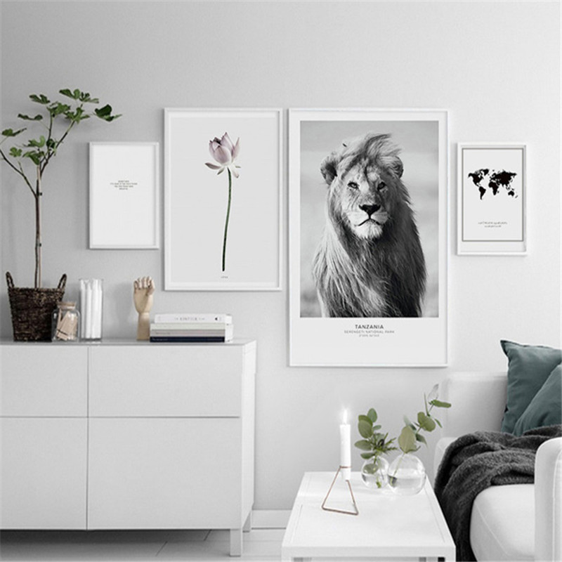 Nordic Canvas Poster Painting-Ink Flower Wash-Picture Lion Wall-Art Bedroom Animal Living-Room