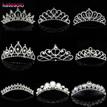Hot Sale New Cute Girls tiara crown Wedding Jewelry Bridal Flower princess crystal rhinestone Tiara Headband Accessories Prom