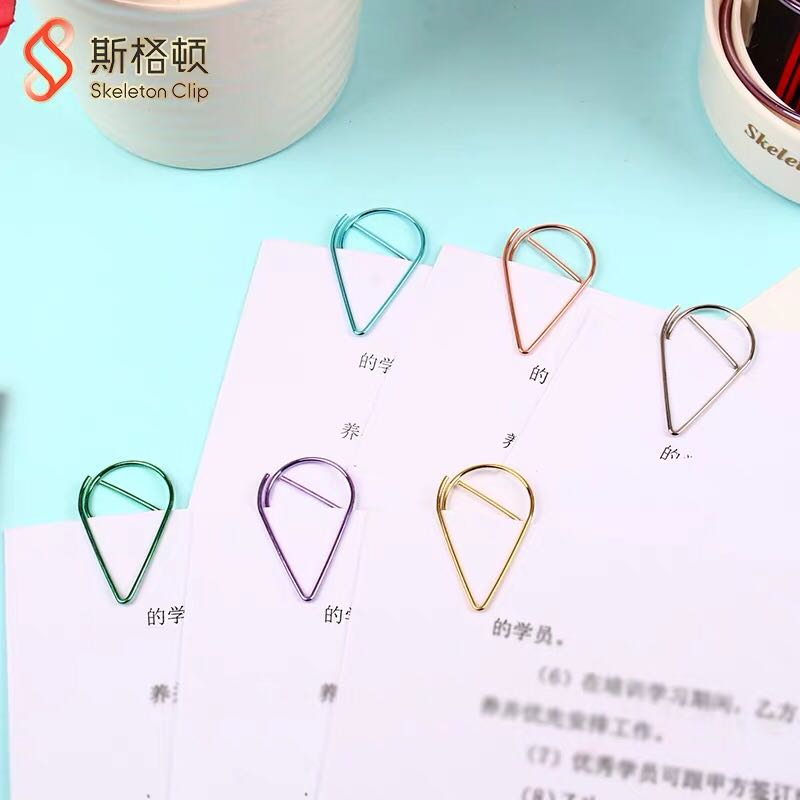50pcs Drop Metal Paperclip 15x25mm Rose Gold Stationery Mini Paper Clips Sale Tag Clip Photo Holder Clip Magnetic Clip