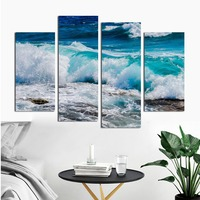 4pcs Landscape Picture Blue Raging Waves Wall Art Decorative Painting Giclee Print Seascape Poster Wall Artwork for Home Decor
