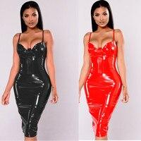 4XL 5XL 6XL בתוספת גודל שמלת 2017 סקסי חורף רטוב PVC עור מראה רוכסן שחור מועדון נשים שמלות באורך הברך שחורה אדום שמלת