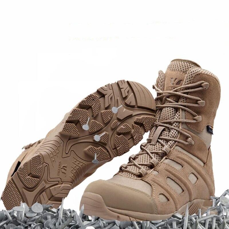 Ue 36-45 hommes Tactial haut Tube en cuir désert botte femme Anti-pierce respirant militaire en plein air escalade Trekking randonnée chaussures