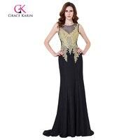 Grace Karin Black Mermaid Evening Dress 2016 Long Elegant Flannelette Abendkleider Sleeveless Golden Appliques Mother Prom