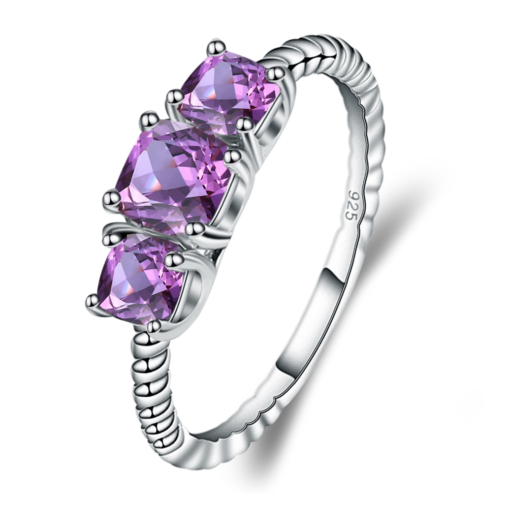 Gem's Ballet 1.39Ct Natural Amethyst Gemstone Rope Band Stackable Ring 925 Sterling Silver three Stone Rings For Women Wedding
