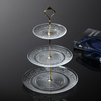 Fashion Glass Cake Stand Household Fruit Plate Crystal Modern Big Fruit Plate Dessert Plate