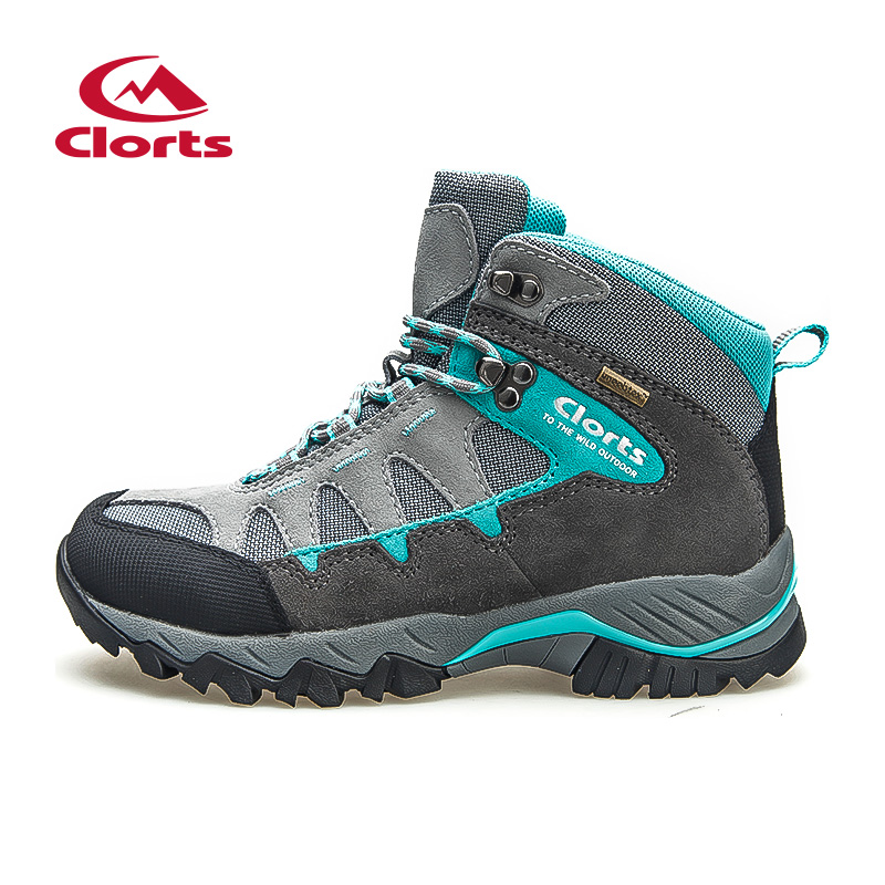 2016 Clorts Women Climbing Shoes Outdoor Boots HKM-823E/F Suede Leather Hiking Boots Waterproof Non-Slip Women Trekking Shoes 2016 man women s brand hiking shoes climbing outdoor waterproof river trekking shoes