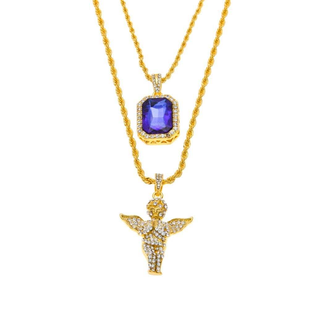 Hip Hop Iced Out Rhinestone colgante collar Ángel Micro, Jesús, ala, orar mano colgante collar regalo de la joyería masculina