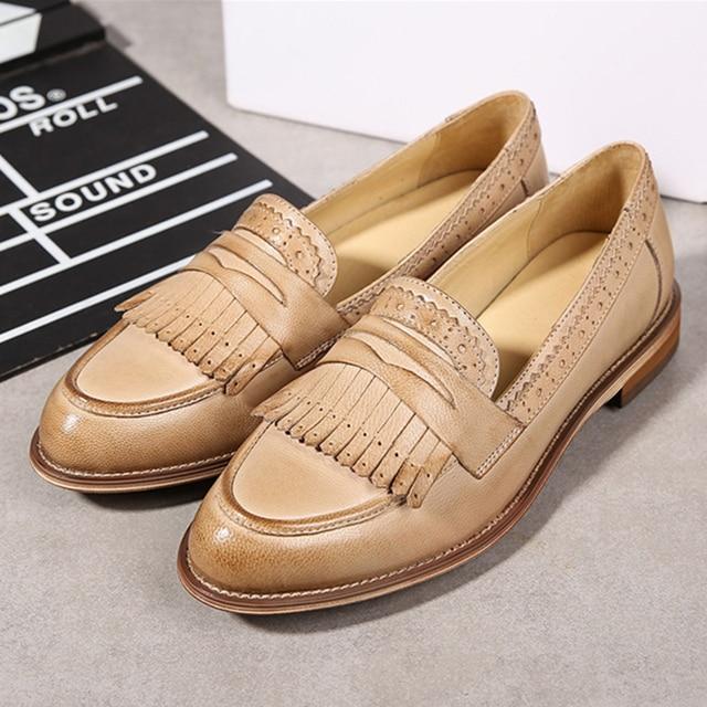 Echtem schaffell leder brogue yinzo damen wohnungen schuhe vintage handgemachte sneaker oxford schuhe für frauen schwarz beige rot 2020