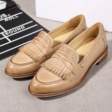 Genuíno couro de pele carneiro brogue yinzo senhoras apartamentos sapatos vintage artesanal sapatilha oxford sapatos para mulher preto bege vermelho 2020