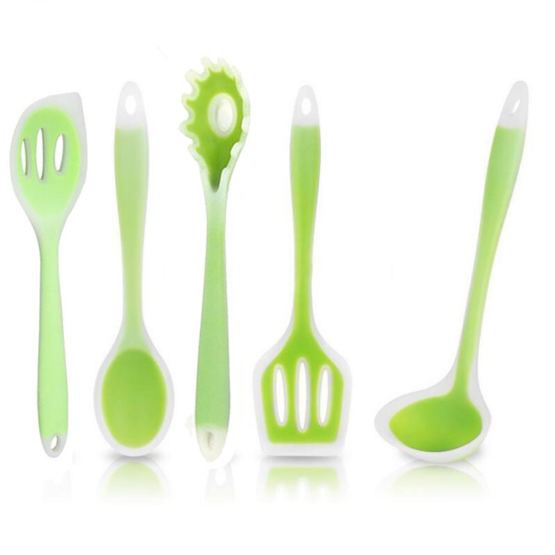 1PC <font><b>Silicone</b></font> Slotted Turner/ Pasta Fork/Spoon/Spatula/Ladle Nonstick Cooking Utensil Set Colorful <font><b>Kitchen</b></font> Gadgets <font><b>Tool</b></font> image