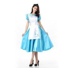 Umorden Deluxe Classic Blue Alice Costume Long Dress for Women Teen Girls Halloween in Wonderland Costumes