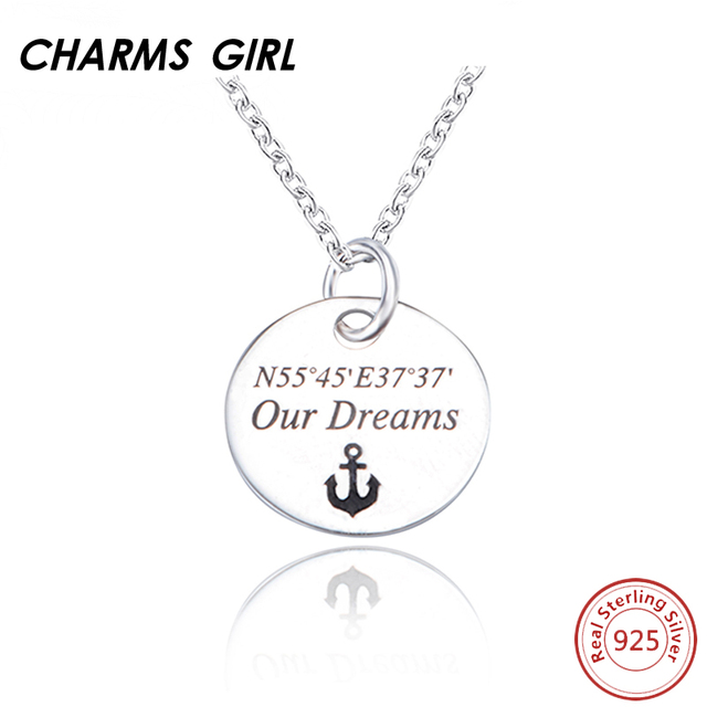 c8e034254ef CHARMS GIRL 925 Sterling Silver Dog Tag Anchor Round Jewelry Accessories  Necklaces For Women Silver Personalized Custom Neckalce